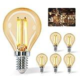 Aigostar Vintage Bombilla LED E14, 4W Equivalente a 37W, Blanco Cálido 2200K,420lm, G45 Bombilla Filamento Led,Angulo de Apertura 360º,5 Pieza