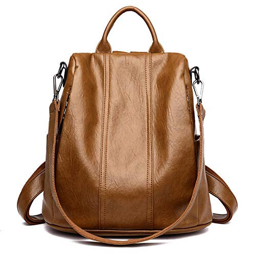 Women's leather backpack fashion anti-theft backpack large capacity travel shoulder bag school bag-Brown