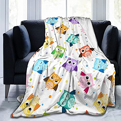 Manta colorida de franela con diseño de búhos para bebés, niños, hombres, mujeres, suaves y cálidas, tamaño Queen y mantas para sofá, cama, sofá de viaje, 127 x 101 cm