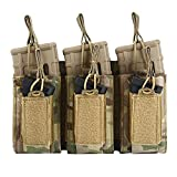 Triple Molle Mag Pouch Open-Top Bag for M4 M16 AK 5.56 Rifle Mag and Pistol Magazine Pouch Holder Airsoft Military Gear Multicam