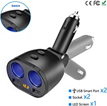 Sponsored Ad - Cigarette Lighter Adapter, Eletrand 2 Socket Car Charger Splitter Multi Power Outlet 12V/24V 80W DC with On...