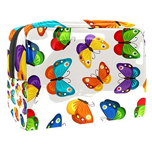 Trousse de toilette multifonction pour femme Motif papillons colorés
