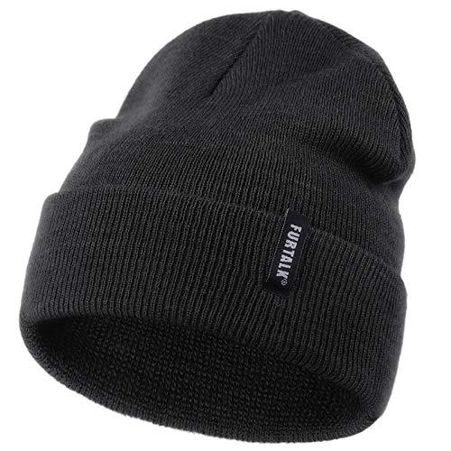 FURTALK Toddler Knitted Winter Hat Boys Girls Acrylic Beanie Hat Baby Kids Cuffed Winter Hats,Black