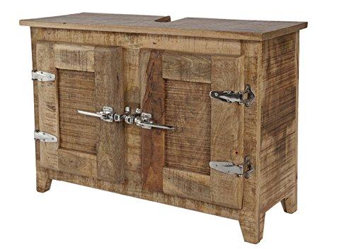 SIT-Möbel Frigo 2507-01, Unterschrank mit 2 Türen, aus Mangholz, natur, Kühlschrankgriffe, 87 x 30 x 60 cm