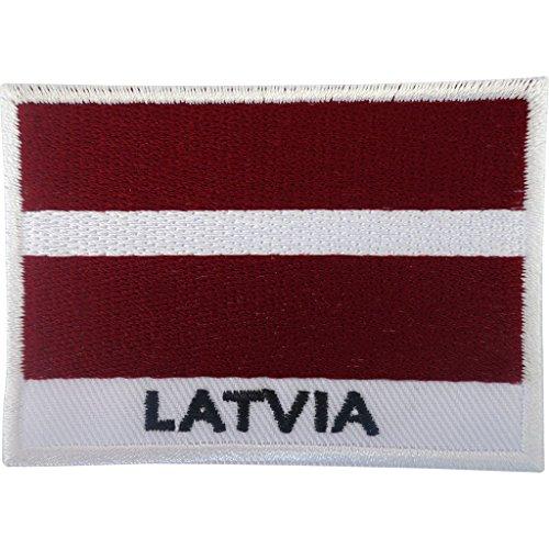 Aufnäher mit Lettland-Flagge, bestickt, bestickt, zum Aufbügeln oder Aufnähen.