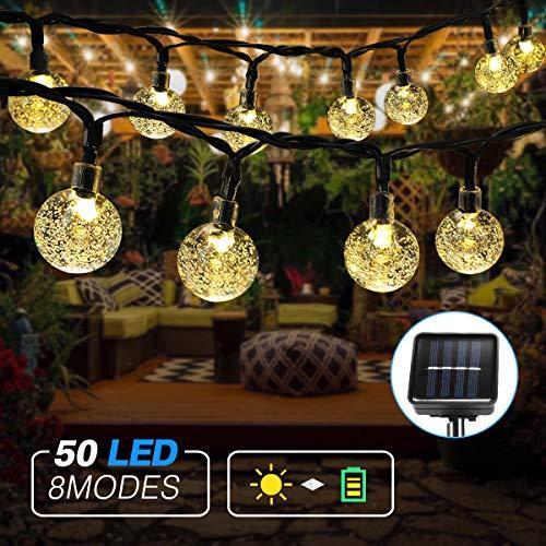 Cadena de luces LED para exterior, solar, 7 m, 50 ledes, bolas...