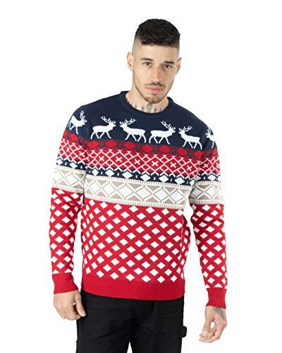 iClosam Maglione Natalizio Unisex Donna Uomo Invernale Stampare Cotone Ugly Sweater Pullover in Maglieria Maglia Felpa Maglioni Sweatshirt Christmas Jumper