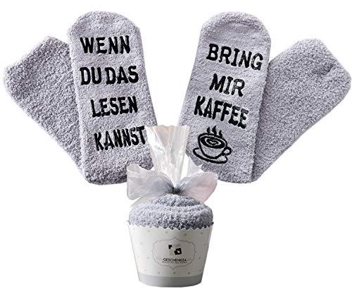 Geschenk für Frauen, zum Muttertag, WENN DU DAS LESEN KANNST BRING MIR KAFFEE SOCKEN, witziges Geburtstagsgeschenk für Freundin, Schwester-Geschenk (Grau-Kaffee)