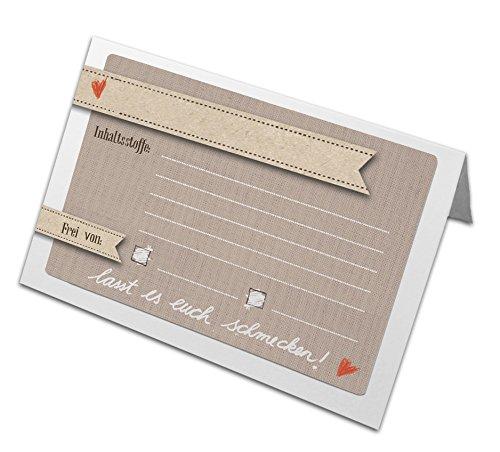10 Buffetkarten zum selbst Beschriften und Falten, zur Kennzeichnung der Inhaltsstoffe für...
