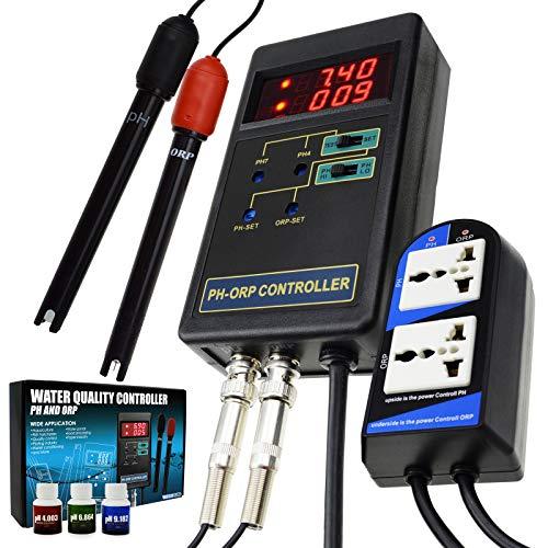 2 in 1 Digitaler pH & Redox-Redox-Controller mit separatem Relais Wiederaufsetzbarer Elektroden-BNC-Typ Sonden-Wasserqualitätsmonitor-Tester