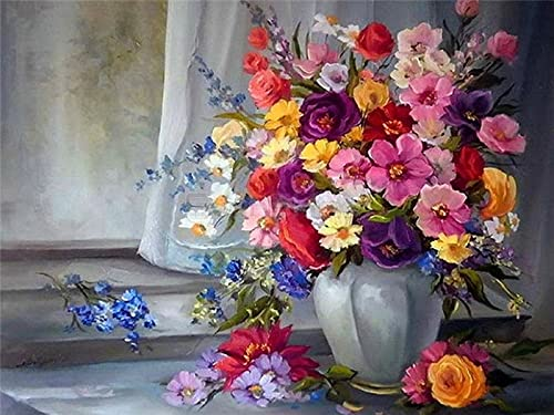 ZXDA Digital Oil Painting Flower Home Decoration Oil Painting Digital Canvas Full Set of Handmade Gifts Home Living Room Decoration A20 60x75cm