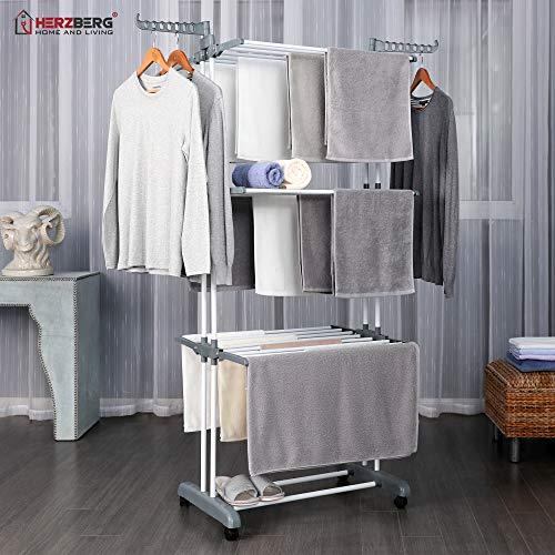 Herzberg Wäscheständer Wäschetrockner-Turm Seitenflügel auf 3 klappbar Beweglicher Kleiderständer - Grau