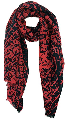 Tahari by Elie Tahari Woven Printed Scarf 100% Merino Wool Petal Peach