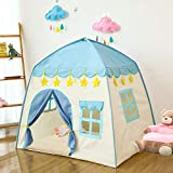 Sutekus Play Tent Teepee Tent for Children Large Portable Kids Playhouse for Indoor Outdoor Boys & Girls, Easy to Put Up (Star Blue)