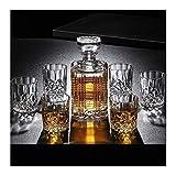 ROSG Decantador de Whisky Decantador de Whisky de Cristal de 7 Piezas Decantador de Whisky de Cristal 100% sin Plomo con Capacidad para 750 ml con Tapa para Vodka, Whisky, Ron escocés, tequi