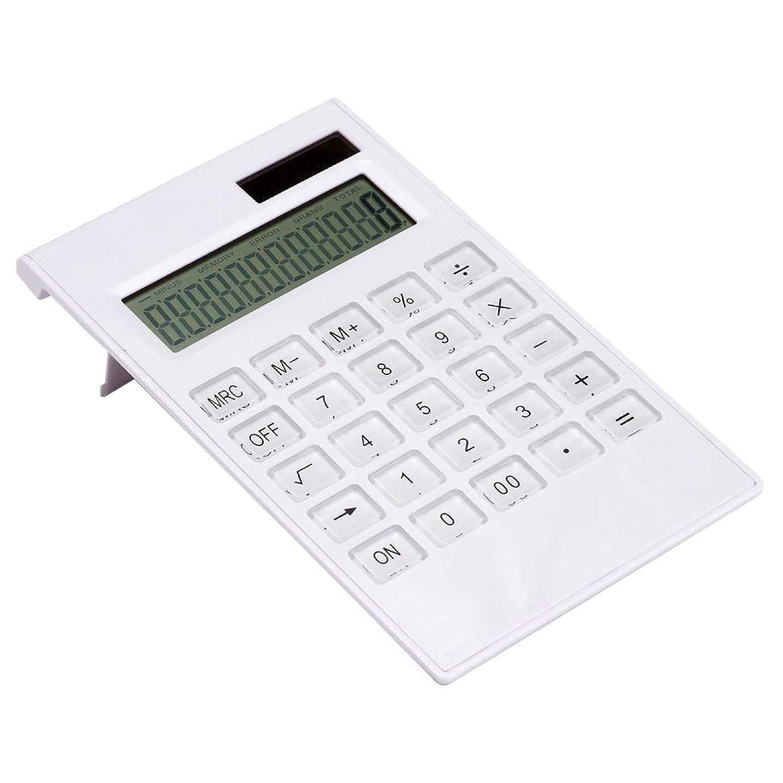 中に開梱集中的なDream 電卓 12桁 ソーラー電卓 卓上計算機 計算機 大型 簿記 大型ディスプレイ ソーラーと電池二重電源 携帯便利 おしゃれ (ホワイト)