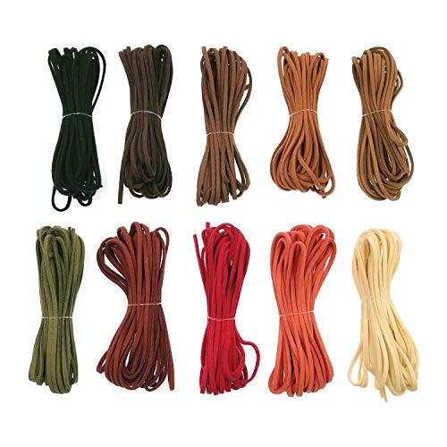 JZK 10 x Cuerda de cuero 2.5 mm x 5 m cuerda de cuero de ante para fabricación de pulsera collar abalorios manualidades bisutería