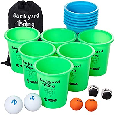 Jumbo PREMIUM Beer Pong Set for Outdoors by Rally and Roar – Dual Colored Cups, 6 balls - Fun Drinking Games for Adults, College Age - Jumbo Cup and Pong Throwing Game for Yard, Party, Bar, Lawn from Rally and Roar