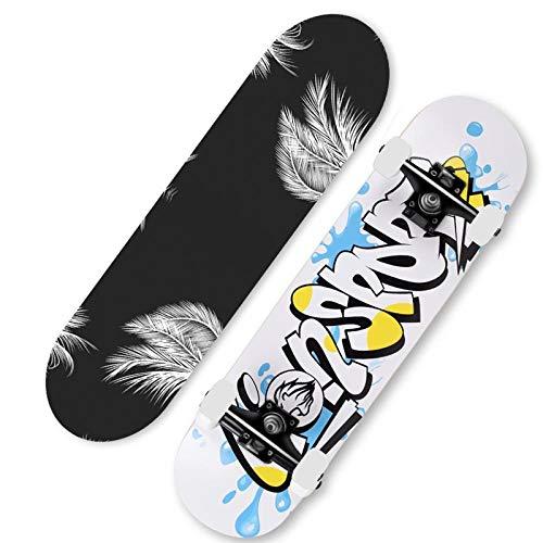 Standard Skateboard komplettes Anfänger Skateboard Ahorn Skateboard für Teenager Erwachsene Kinder Kinder Jungen und Mädchen-Milch Gekritzel-Engelsflügel