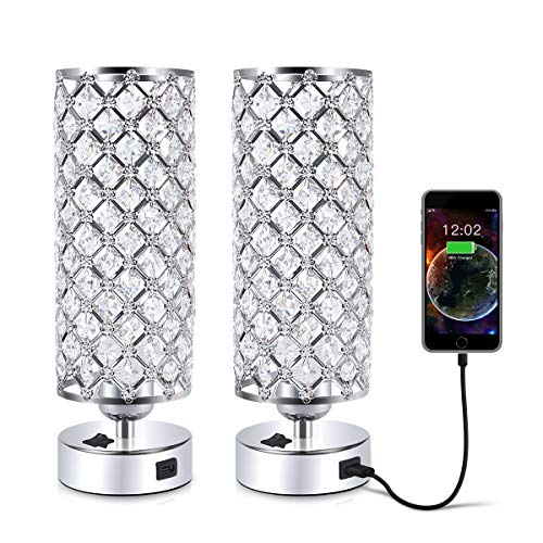Crystal Table Desk Lamp with USB Port, Acaxin Elegant Bedside Glam Lamps for Bedrooms, Home Decorative, Nightstand Lamp for Bedroom/Living Room/Dressing Room (Set of Two)