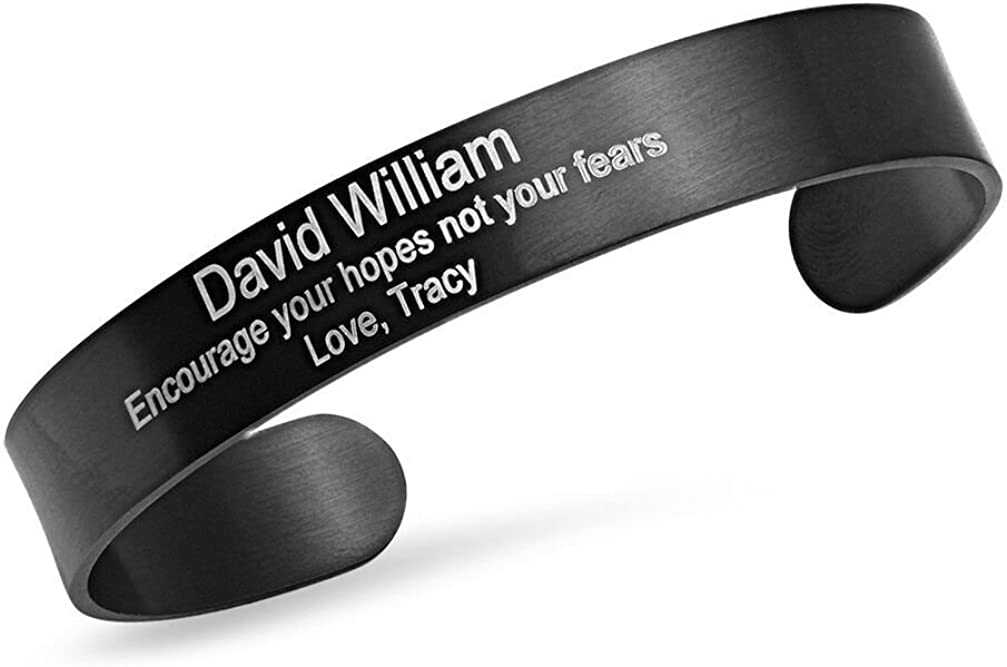 Free Engraving - Stainless Steel Black IP Plated Quality Cuff Bracelet