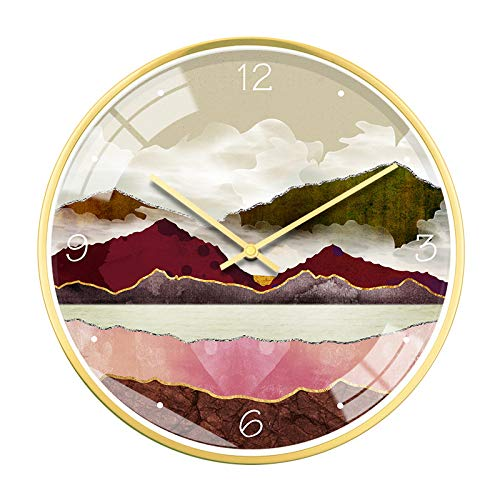 QXbecky Nordic Abstract Zen Mood Landscape Home Reloj de Pared Reloj de Estilo japonés de 12 Pulgadas Mesa Colgante Reloj de Arte Ultra silencioso 30 cm M 12 Pulgadas