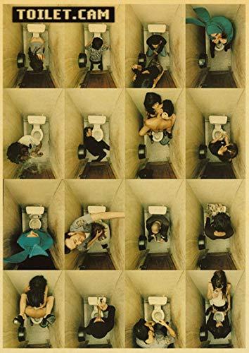 xiangpiaopiao Póster Divertido De Pared Toliet, Pintura En Lienzo, Decoración De Baño, Decoración Artística De Pared, Póster Impreso En Lienzo 50X70Cm Kq-1350