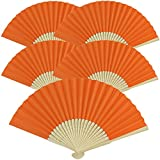 Just Artifacts Folding Paper Hand Fan 8.25-Inch Orange (5 pcs)
