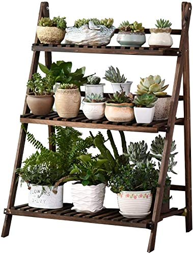 Flower Plant Wooden Folding Ladder Rack 3 Layer Garden Terrace Balcony Standing Decorative Plants and Flowers Frame Display Stand for Flowers,Brown