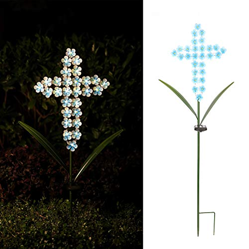Joyathome Solar Cross Garden Stake Outdoor Lights, 40 Inch Solar Powered Cross Lights Stake with 24 LED Decorative Flower Lights for Remembrance Gifts