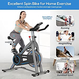 pooboo Indoor Exercise Bike Stationary,Fitness Bike Upright Cycling Bike with Magnetic Resistance and Quiet Belt Drive, LCD Monitor&Tablet Holder for Home Cardio Workout