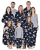 SleepytimePJs Christmas Family Matching Navy Polar Bear Flannel Pajama Sets, Women's Button Down Top - Navy Polar Bear, Large