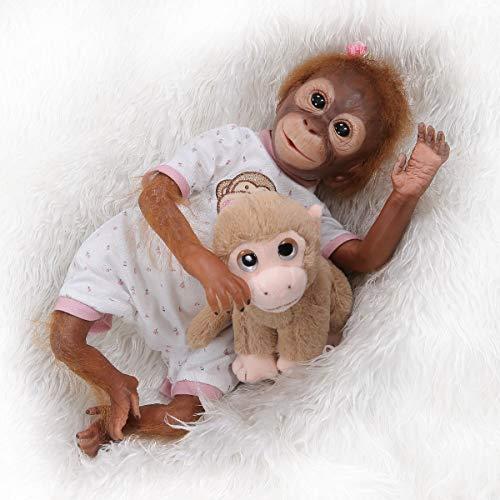 TERABITHIA 21 Zoll 52 cm Neue Ankunft So Wirklich Hand Detaillierte Malerei Reborn AFFE Babypuppen Echt Sehr Weich Silikon Vinyl Flexible Sammeln Kunst Neugeborenen Puppe Aussehen Realistisch