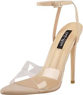 Onlymaker Women's Clear Criss Cross Pointy Open Toe High Heel Ankle Strap Sandals
