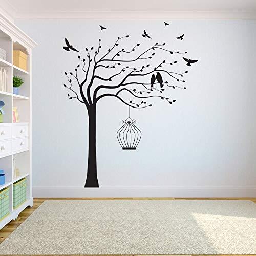 Tianpengyuanshuai Árbol decoración de la Pared Etiqueta de Vinilo Dormitorio árbol de la Vida árboles decoración del hogar Jaula de pájaros en el árbol -42x52cm