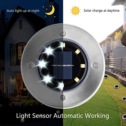 Dersoy Solar Disk Lights Outdoor, 8 LED Bulbs Solar Powered Ground Lights Outdoor Waterproof IP65 for Garden/Landscape Path/Patio/Yard/Lawn/Driveway, LED Buried Lights Cold White(8 Pack)