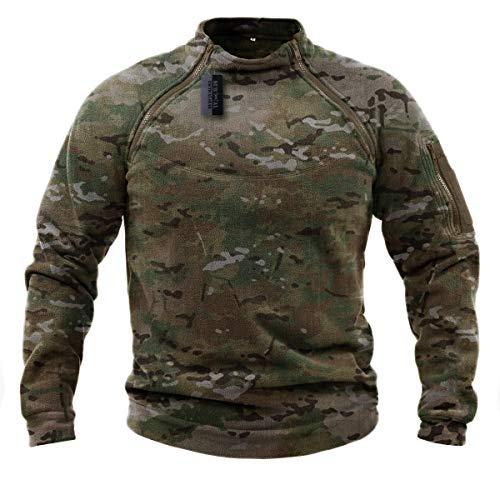 ZAPT Tactical Fleece Jacket Military Polartec Thermal Pro Thick Warm Tech Fleece (L, Multicam)