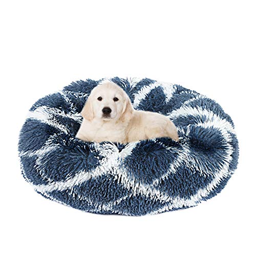 EMUST Donut Dog Cat Bed, Calming Bed for Dogs, Cat Beds for Indoor Cats, Anti-Slip Machine Washable-Ped Bed for Medium Large Cats Dogs, Multiple Sizes, Multiple Colors
