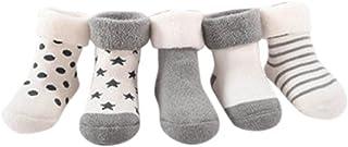Pack de 5 Pares Calcetines para Bebé Niños Niñas Antideslizante Calcetín 0-2 años