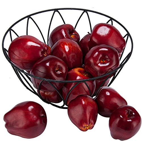 Toopify 16PCS Artificial Red Apples, Fake Fruit Lifelike Simulation Apples for Home Kitchen Table Basket Decoration, 3.43' x 2.95'