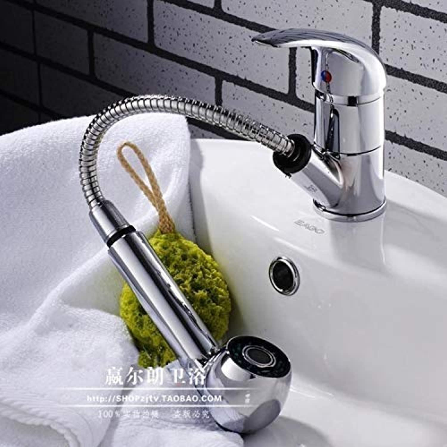 Oudan Cold Drawing Telescopically Pulling The Hose All-Copper Faucet Washbasin Basin Taps Continental (color   -, Size   -)