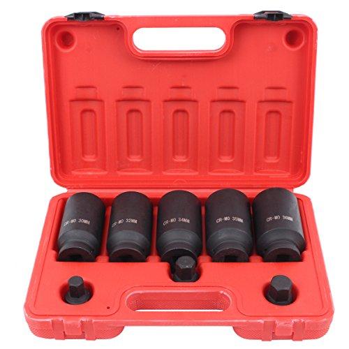 CCLIFE 8 tlg 12-kant Vielzahn Nuss Satz Steckschlüssel für Antriebswellen 30-32-34-35-36 mm