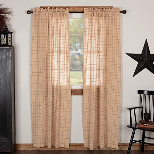 Springhouse - Cortinas semitransparentes, color rojo y beige, juego de 2, 96 pulgadas de largo, primitivo, clásico, granja, cortinas ligeras, cuadros de ventana
