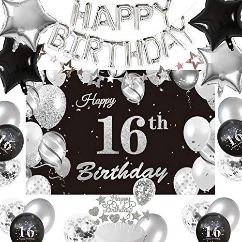 16° Compleanno Festa Decorazioni Ragazze Ragazzi, Argento Nero 16° Happy Birthday Palloncini Stella Banner 16° Compleanno Sfondo Tessuto Fotografia Torta Topper Compleanno Palloncini di 16° Anni