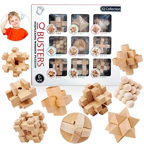 3D Cubo Puzzles de Madera,Rompecabezas Madera,Juguete Madera difícil,Juego Rompecabezas Madera,Juegos lógica Adultos,Juego Pensamiento lógico,Juguetes Madera IQ,Cubo de Rompecabezas (9)