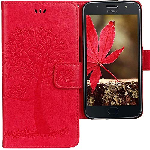 CLM-Tech kompatibel mit Motorola Moto G5S Hülle, Tasche aus Kunstleder, Leder-Tasche Lederhülle, Baum Eule pink