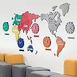 Reloj De Pared Mudo 3d, Reloj De Mapa Mundial, Personalidad De Pintura Decorativa...