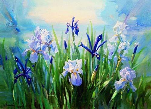 Pintar por Numeros para Adultos Niños DIY Lienzo Pintura al óleo Kit Hogar Decoración Regalo, Flores moradas, 40x50cm Sin marco