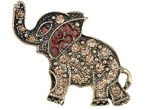 Alilang Antique Bronze Brass Tone Topaz Crystal Rhinestone Elephant Pin Brooch