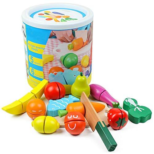 Jeu de jouets de nourriture, coupe de nourriture en bois jeu de nourriture de jeu jouet éducatif semblant de nourriture avec couteau fruits légumes poisson et planche à découper,...